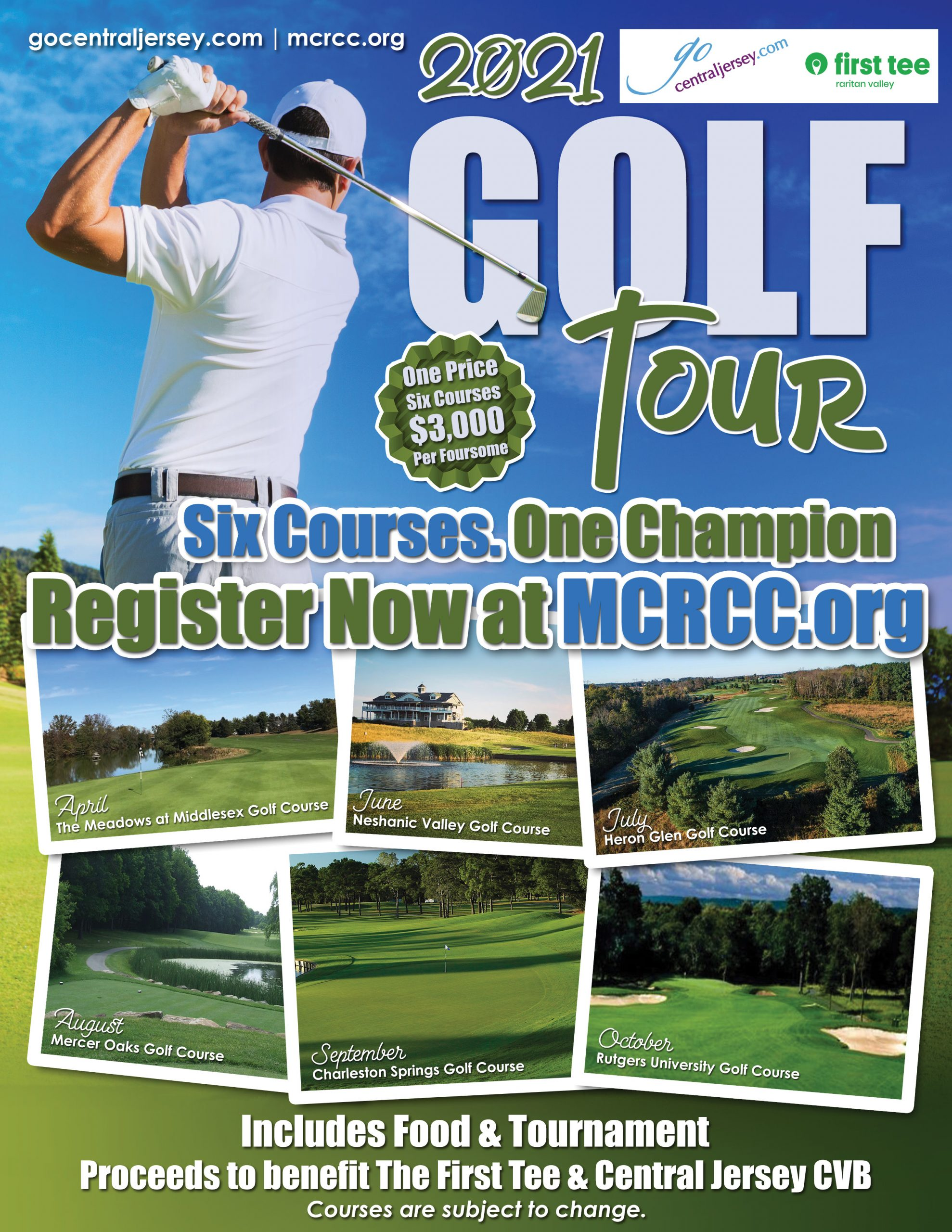 2021 golf tour advertisement for Central Jersey CVB